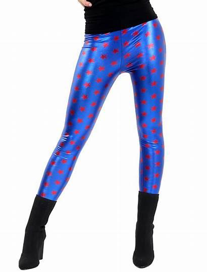 Leggings Shiny Metallic Star Pants Disco Foil