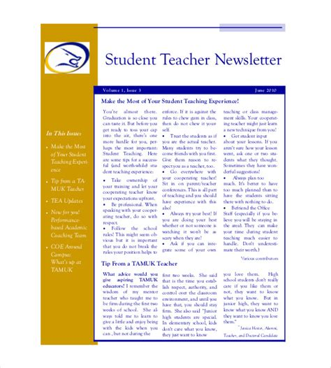 Student Newsletter Templates Free newsletter template 8 psd pdf formats