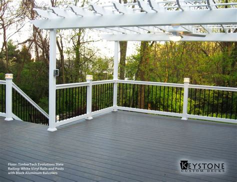 timbertech evolutions slate deck  white vinyl railing
