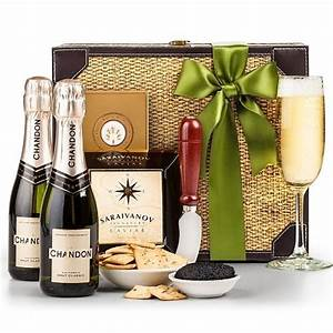 luxurious chagne and caviar basket wine gifts