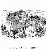 Monastery Clipart Norman Illustration Royalty Prawny Vector Clipground Regarding Notes sketch template