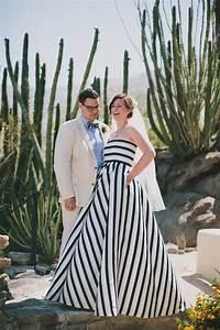 35 black white wedding dresses with edgy elegance With black and white striped wedding dress