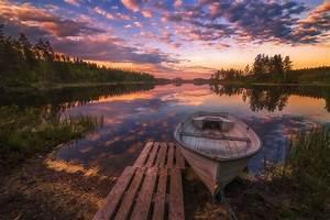 Nature, Landscape, Spring, Sunset, Norway, Lake, Boat