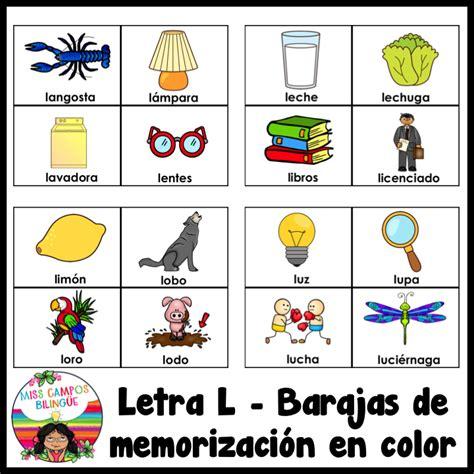letra l silabas la le li lo lu kindergarten bilingue lenguaje letras preescolares