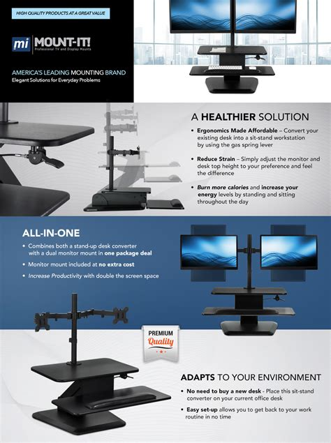 mount it sit stand workstation standing desk converter with dual monitor mount