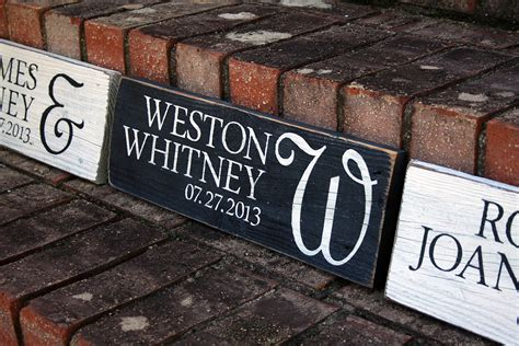 names  wedding date painted wood sign signs