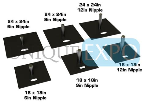 Pipe And Drape Base - 2 quot heavy duty slip fit base unique expo pipe and drape