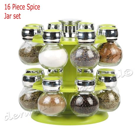 Spice Rack 16 Jars by 12 16 Revolving Rotating Wooden Plastic Kitchen Spice Rack