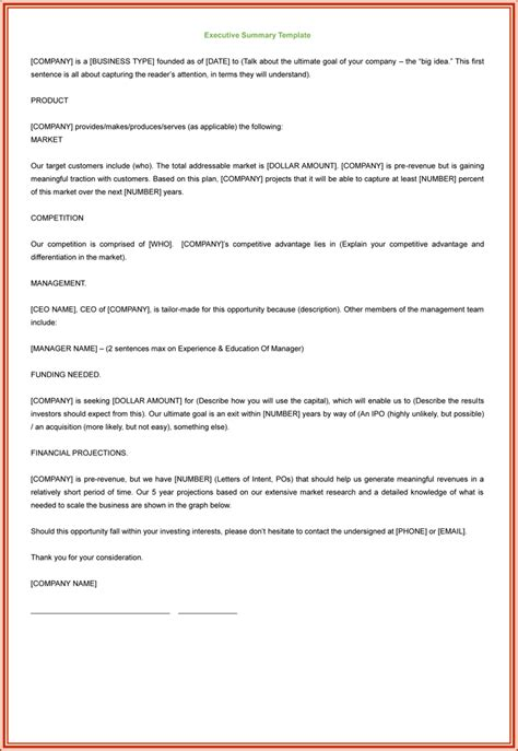 summary template 3 executive summary exles for word and pdf