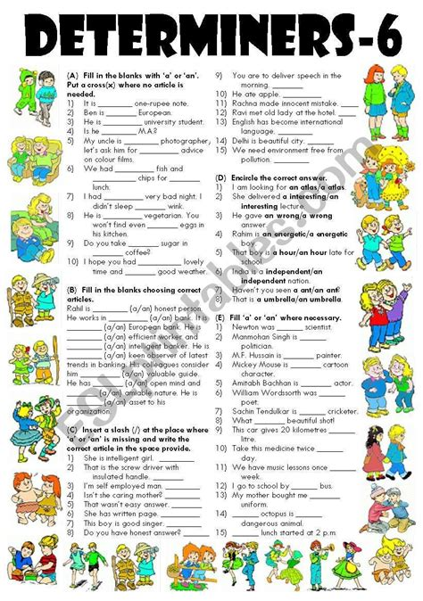 worksheet    exercises  determiners