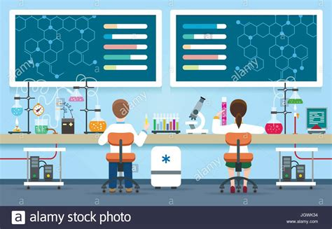 Scientists Research In Laboratory Vector Illustration