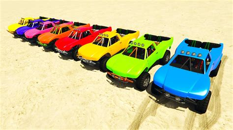 Color Offroad Cars Jump On Ramp! Cartoon 3d Animation For