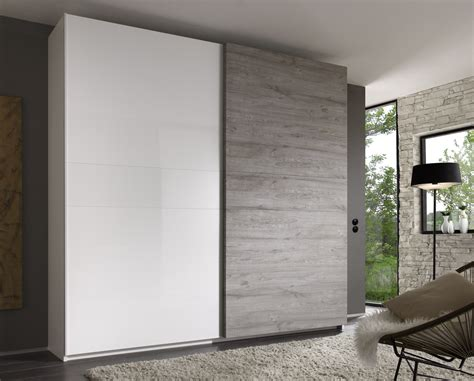 armoire de chambre à coucher tambura sliding doors wardrobe white grey buy at