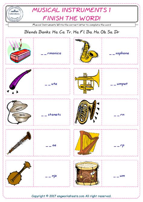 musical instruments esl printable english vocabulary