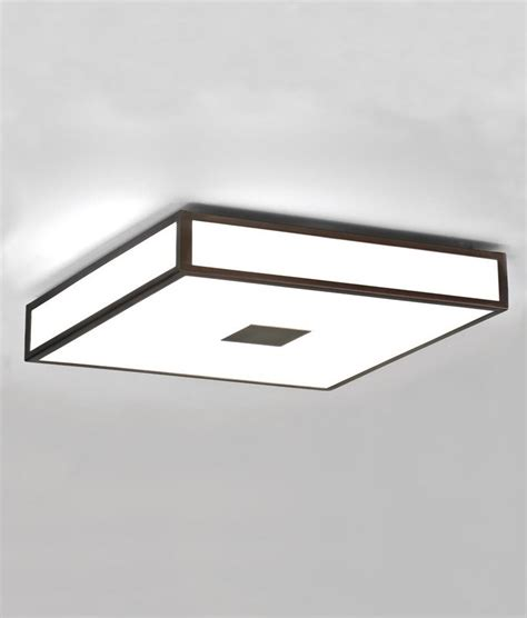 opal glass square bathroom ceiling light in deco style