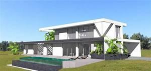 maison contemporaine sur terrain en pente avec piscine a With piscine a debordement sur terrain en pente