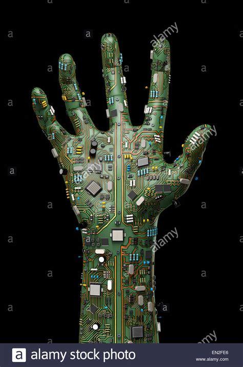 render  raised hand   computer circuit board