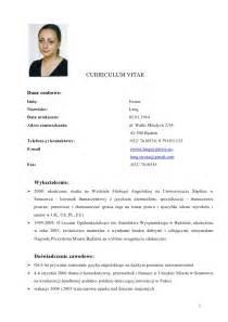 curriculum vitae template doc download iwona lang cv doc