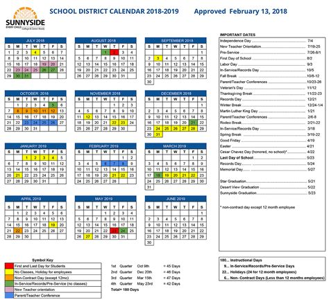 academic calendar sunnyside unified school district
