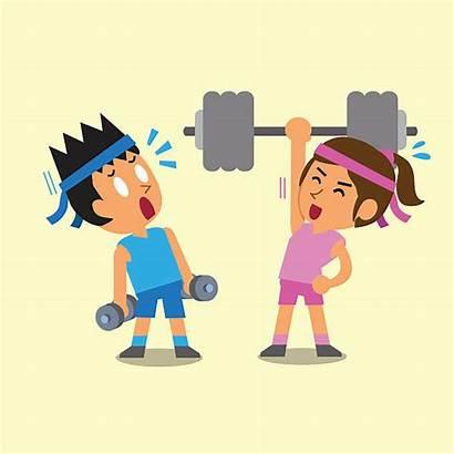Cartoon Weight Training Woman Strength Clip Weightlifting