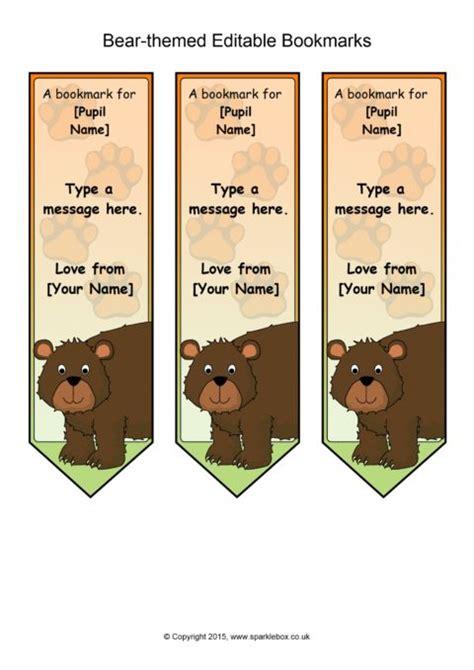 bear themed editable bookmark templates sb sparklebox