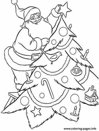Coloring Santa Christmas Pages Tree Decorating Claus