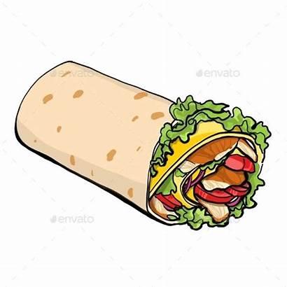Shawarma Chicken Roll Vector Illustration Clipart Kebab