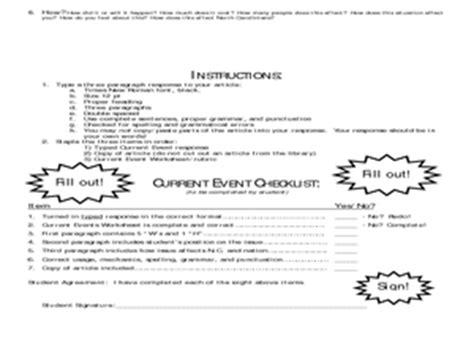 Social Studies Current Event Worksheet 7th  12th Grade Worksheet  Lesson Planet