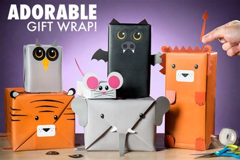 personified gift wrapping animal gift wrap kit
