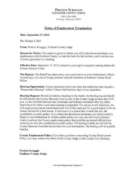 notice  employee termination