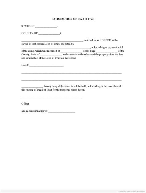 trust deed template for property in colorado printable deed of trust form real estate lien satisfied