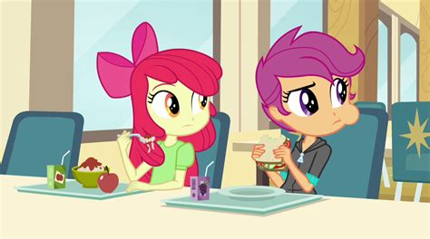 Apple Bloom And Scootaloo Look At The Dazzlings