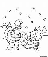 Coloring Christmas Santa Pages Boy Gift Gives Printable sketch template