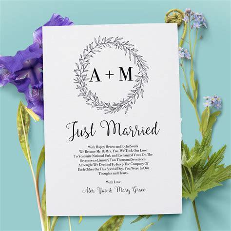 simple  classy elopement announcement card