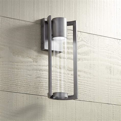 maxfield silver 15 high led outdoor wall light maxfield silver 15 quot high led outdoor wall light 5x233