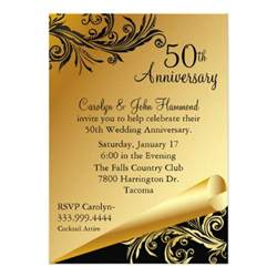 50 wedding anniversary black gold 50th wedding anniversary invitation 5 quot x 7 quot invitation card zazzle