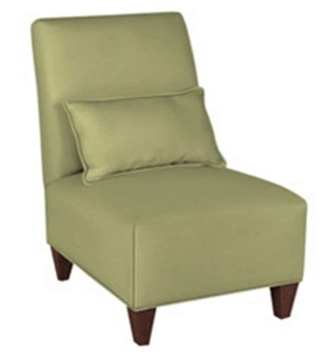 armless fabric upholstered slipper accent chair