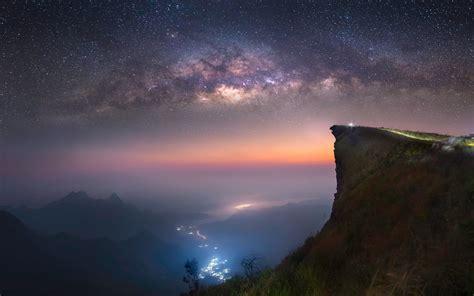 Wallpaper Landscape Lights Galaxy Hill Nature Sky