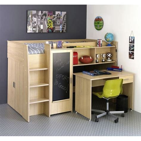 lit mezzanine avec bureau et rangement lit mezzanine mistergooddeal promo lit achat jacko lit