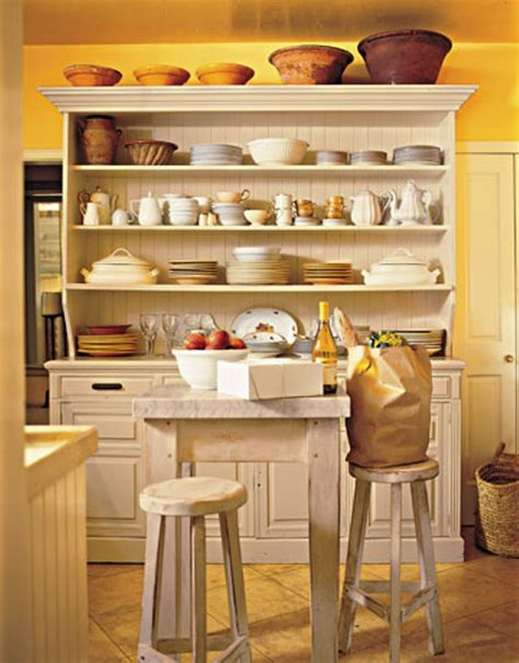 kitchen hutch ideas rustic hutch with stylish open shelves for cottage kitchen remodeling ideas with yellow wall