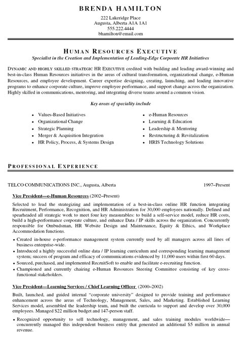 Hr Resume by Hr Resume Free Cv Exle