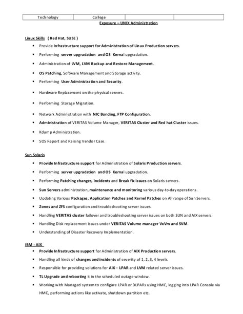 Unix Support Engineer Resume by Veerapandi Unix System Engineer Linux Solarisaix Resume
