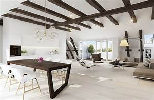 exposed ceiling beams interior design ideas With awesome peindre un parquet ancien en blanc 1 10 idees originales pour peindre un parquet deco cool