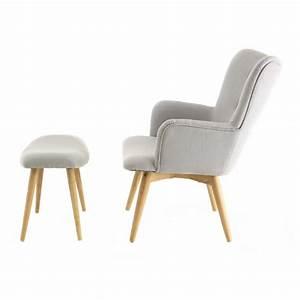 Repose Pied Salon : fauteuil scandinave en tissu avec repose pieds stockholm trendy homes ~ Teatrodelosmanantiales.com Idées de Décoration
