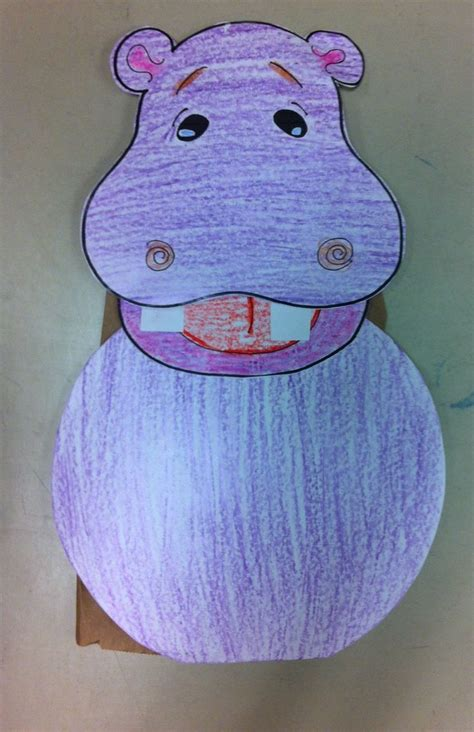 paper bag hippo puppet preschool crafts storytime