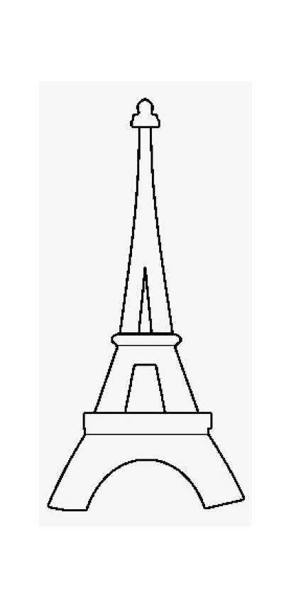 Tower Eiffel Template Coloring Cut Silhouette Svg