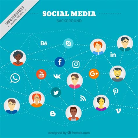Social Media Background Social Media Background With Connected Vector