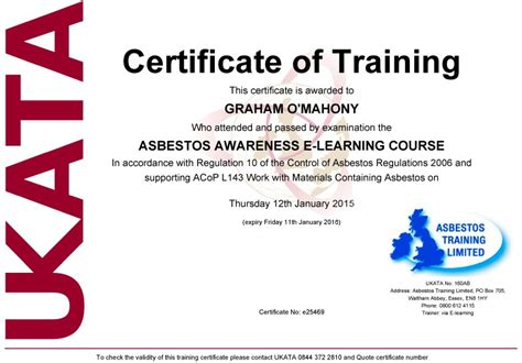 Certificate Courses by Uk S Leading Ukata Approved Asbestos Provider