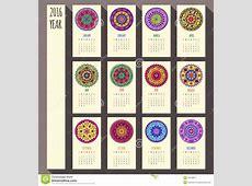 2016 Year Ethnic Calendar Design, English, Sunday Stock