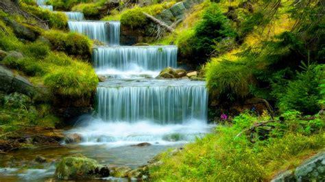 river  cascading waterfall water stones green grass